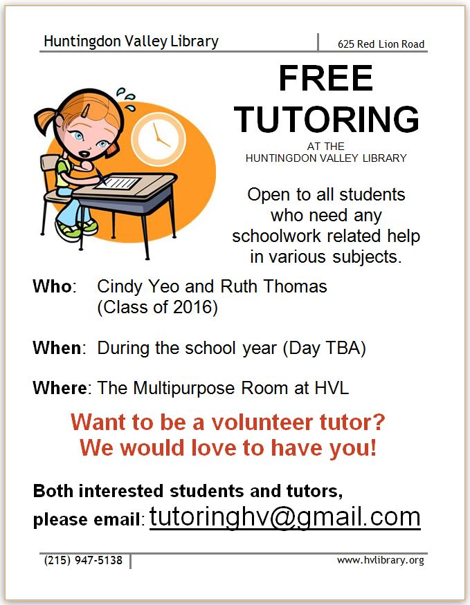 Free Tutoring Flyer  Friends Of Huntingdon Valley Library News
