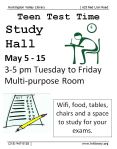 May 5 TEENS: Study Hall starts