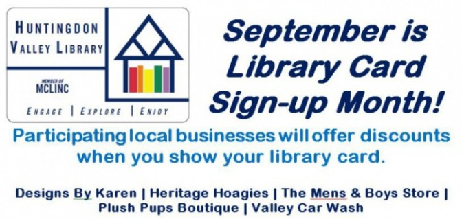 Aug 30 Programs and Library Card Sign-up Month